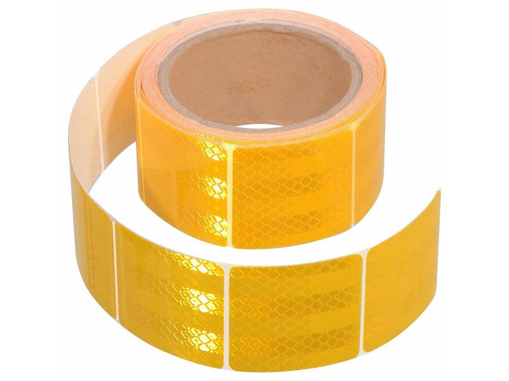 Samolepící páska reflexní dělená 5m x 5cm žlutá (role 5m)