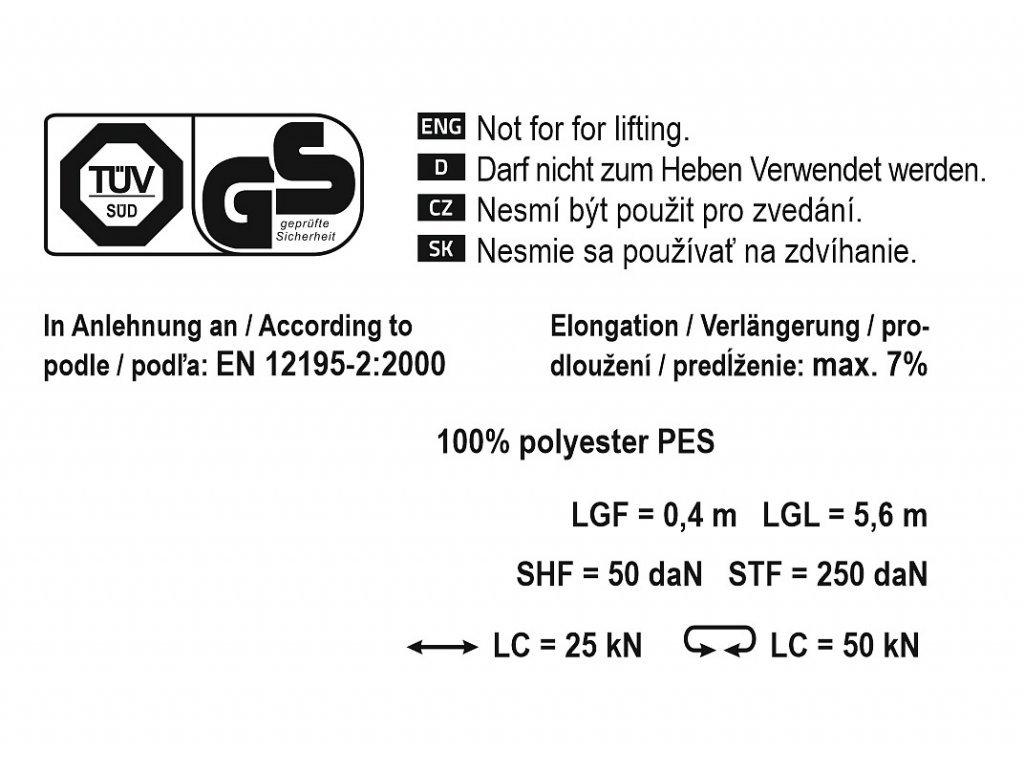 Popruh s ráčnou a háky 5t 6m TÜV/GS