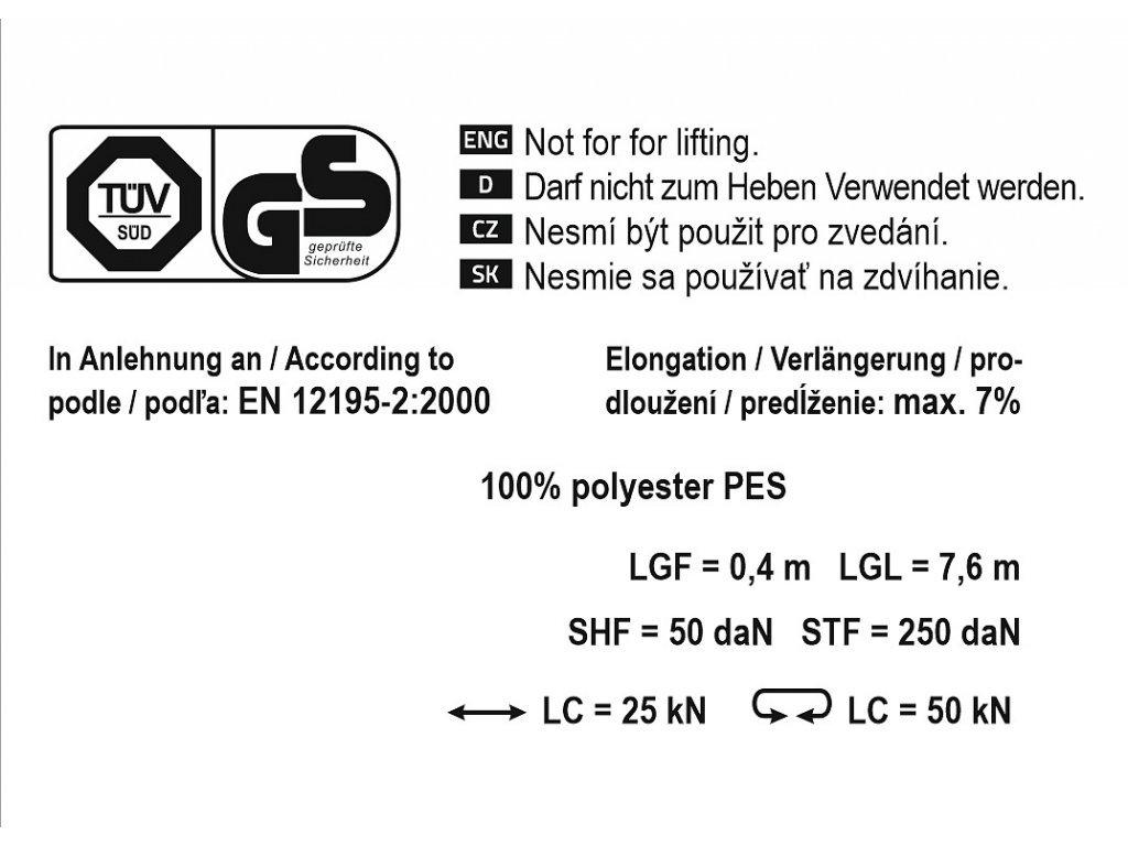 Popruh s ráčnou a háky 5t 8m TÜV/GS