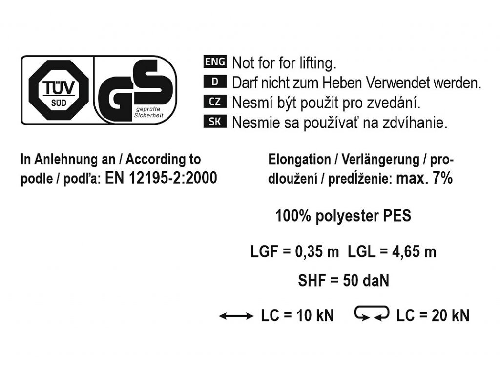 Popruh s ráčnou a háky 2t 5m TÜV/GS