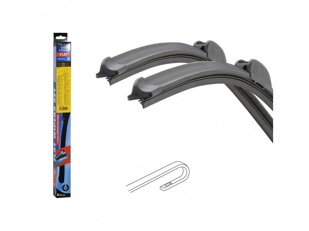 Stěrače FLAT SET (HOOK) 450+450mm
