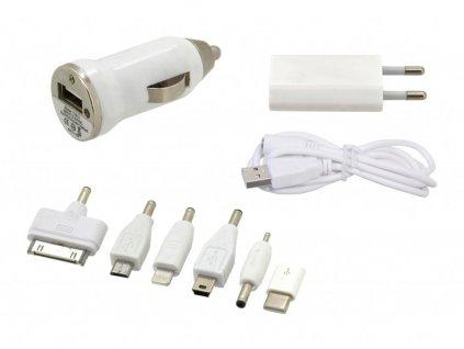 Nabíječka telefonu 230/12V 2,1A (Iphone 4-8, miniUSB, microUSB, USB-C)