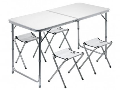 Stůl kemping DOUBLE teleskop. šedý + 4x židlička