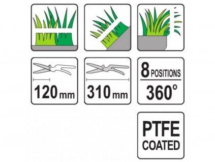 Nůžky na trávu 310 mm 8 pozic (360°)