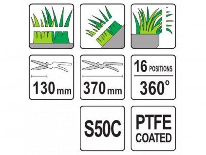 Nůžky na trávu 370 mm 16 pozic (360°)