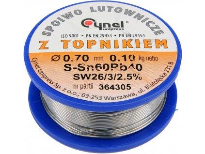 Cín (pájka) pájecí 0,7mm, 100g Sn60Pb40