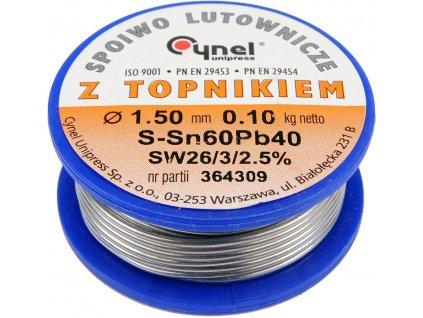 Cín (pájka) pájecí 1,5mm, 100g Sn60Pb40