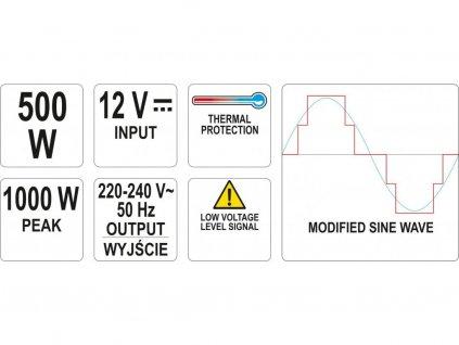Měnič napětí 12/230V 500W