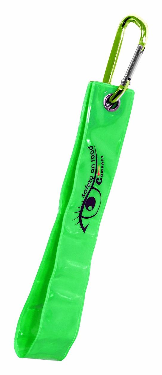 Compass Přívěšek s karabinou reflexní S.O.R. zelený