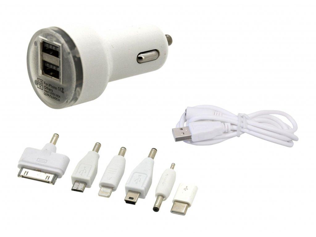 Compass Nabíječka telefonu 12V 2,1A (Iphone 4-8, miniUSB, microUSB, USB-C)