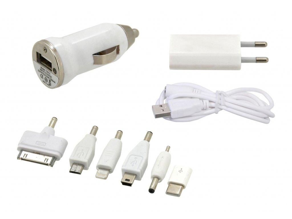 Compass Nabíječka telefonu 230/12V 2,1A (Iphone 4-8, miniUSB, microUSB, USB-C)