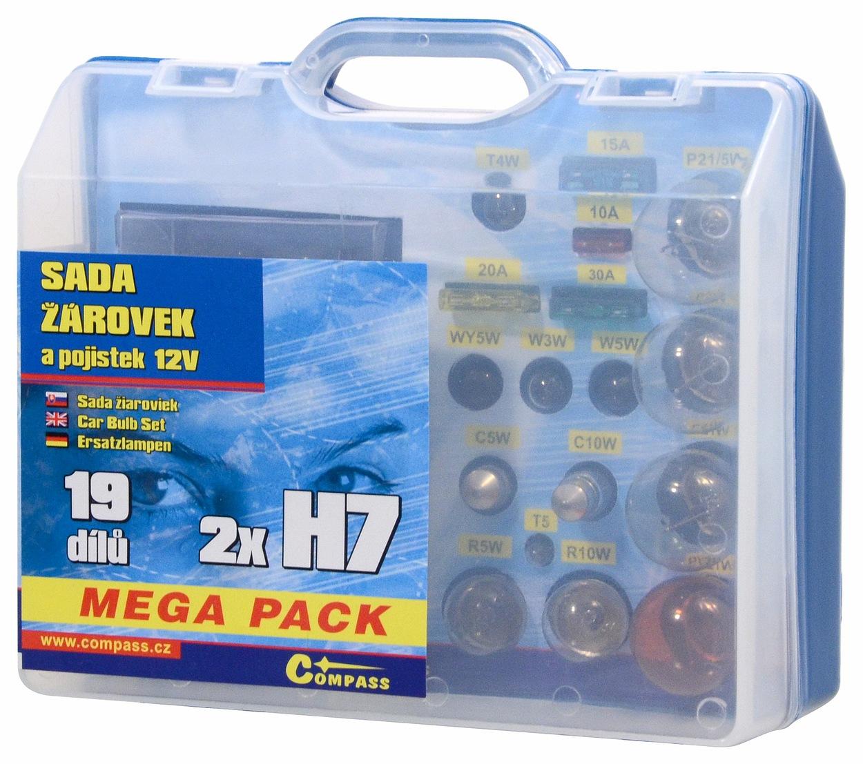 Compass Žárovky 12V servisní box MEGA H7+H7+pojistky