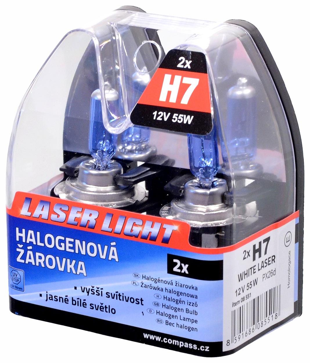 Compass Žárovka 12V H7 55W PX26d WHITE LASER 2ks
