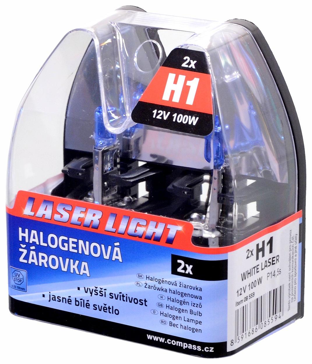 Compass Žárovka 12V H1 100W P14,5s WHITE LASER 2ks