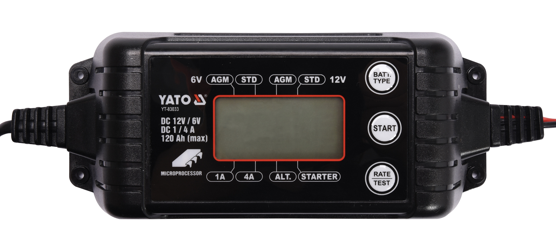 YATO Nabíječka 4A 6/12V PB/GEL LCD display