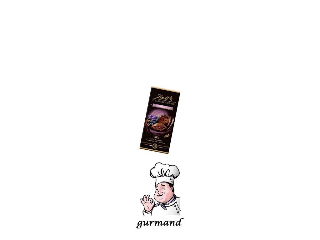 Lindt Edelbitter Mousse Blaubeer-Levandel Hořká čokoládová pěna s borůvkovo-levandulovou náplní 150g