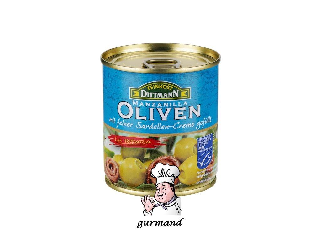 Olivy zelené španělské plněné sardelovou pastou 200/85g