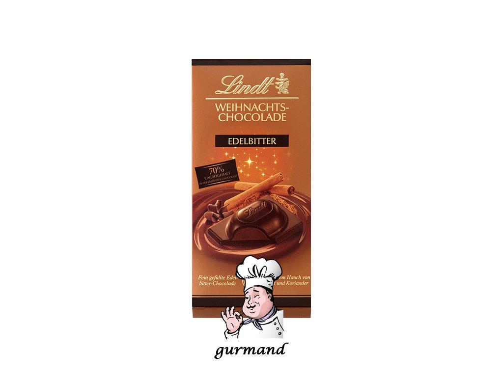 Lindt Edelbitter Vánoční hořká čokoláda se skořicí a koriandrem 100g