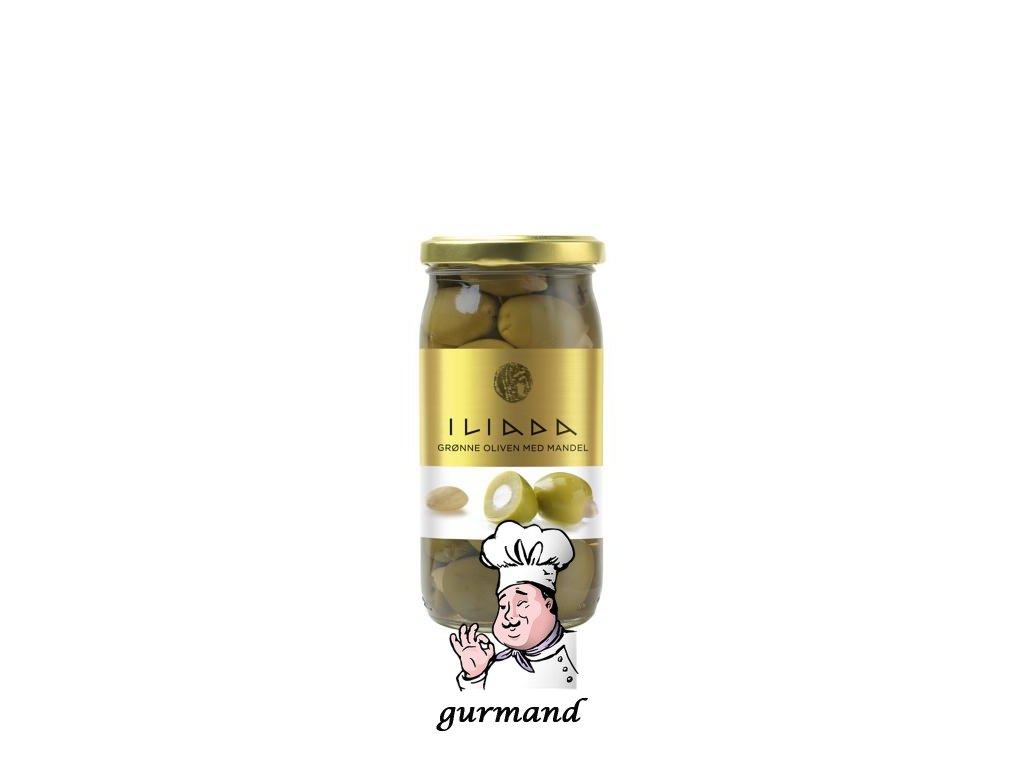 ILIADA Zelené řecké olivy velké plněné mandlemi 370g