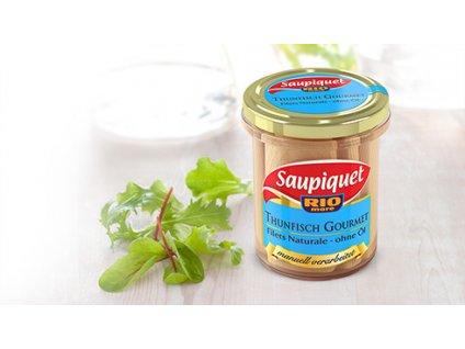 """Saupiquet  Tuňák Gourmet, řezy """"naturale"""" 180/126g"""