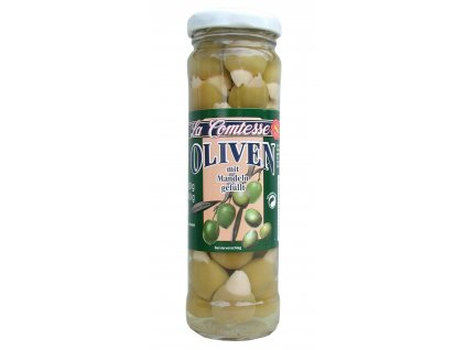 La Comtesse  Olivy zelené španělské plněné mandlemi 140/90g
