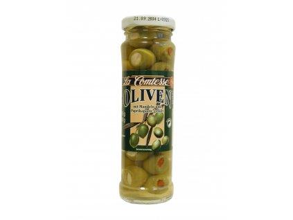 La Comtesse  Olivy zelené španělské plněné mandlemi a paprikou 140/90g