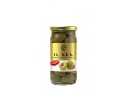 ILIADA Zelené řecké olivy velké plněné paprikou 370g