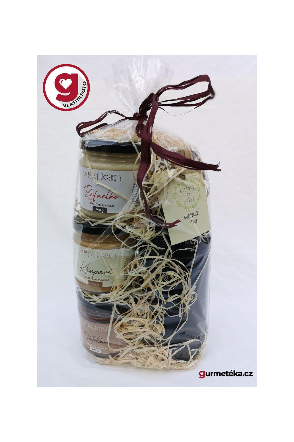 Dárkový balíčekRafaelko křupavé arašídové Nutelka Borůvkový sirup