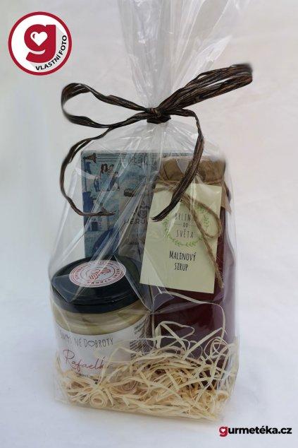 Dárkový balíček Rafaelko malinový sirup Herufek mléčná s kokosem