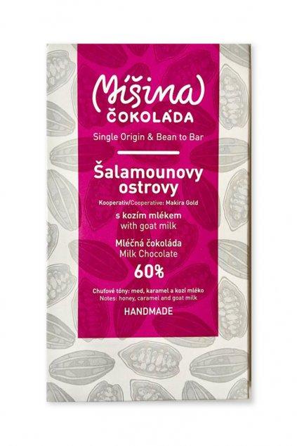 Míšina čokoláda Šalamounovy Ostrovy 60% mléčná s kozím mlekem 50g