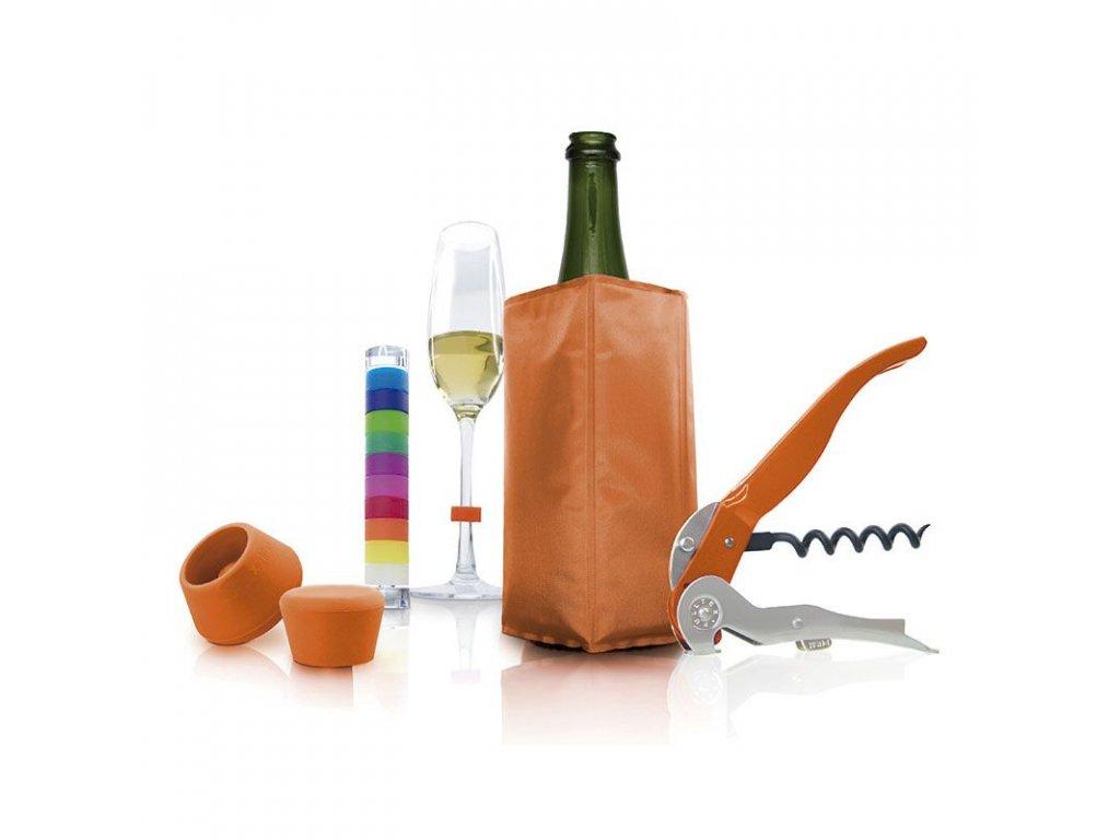 Vývrtka, otvírák na víno, chladič na víno a sekt, zátka na víno, zátka na sekt a rozlišovače na skleničky Pulltex Starter Set 5 Multicolor