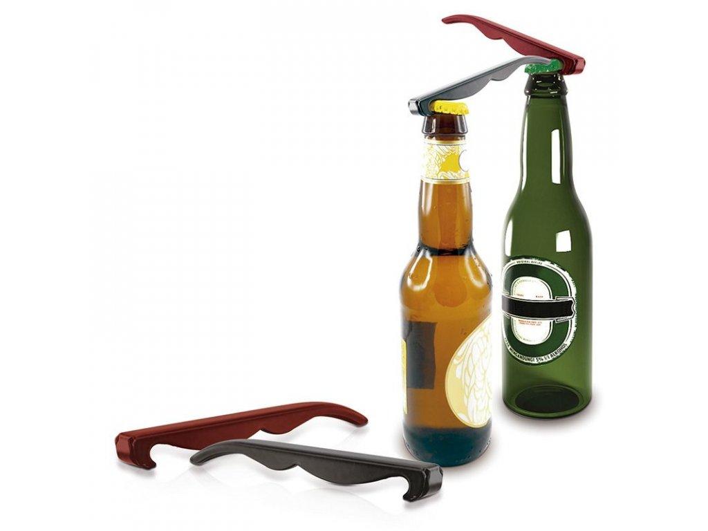 Kovový otvírák v sadě 2 ks červená a černá Pulltex Metalic Bottle Opener