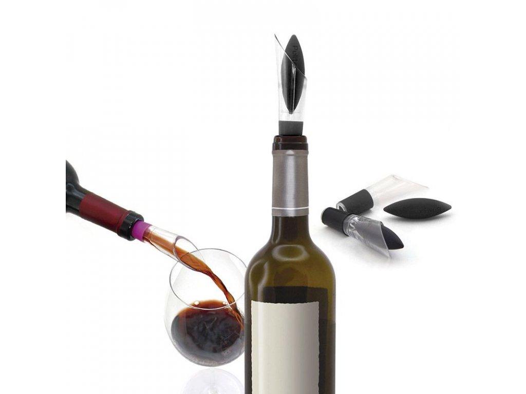 Uzávěr a nálevka na láhve Pulltex Uranus Wine Stopper & Pourer Black