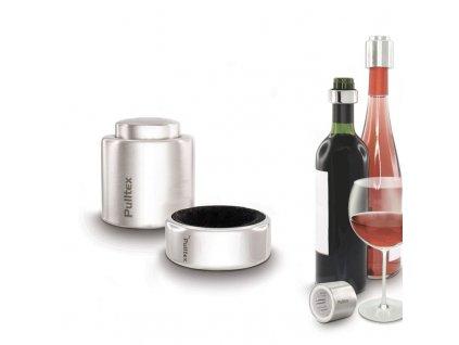 Zátka na víno a odkapávací kroužek Pulltex Wine Kit Security