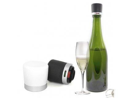 Uzávěr na sekt černý a bílý Pulltex Twist Champagne Stopper