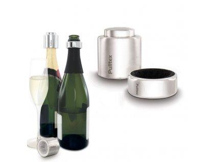 Zátka na sekt s odkapávacím kroužkem Pulltex Champagne Kit Security