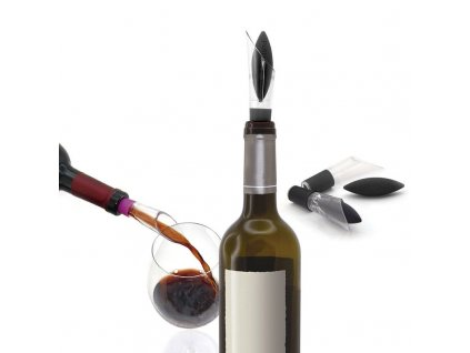 Pulltex Uranus Wine Stopper & Pourer Black