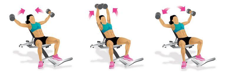 Rozpažování s jednoručkami na šikmé lavici