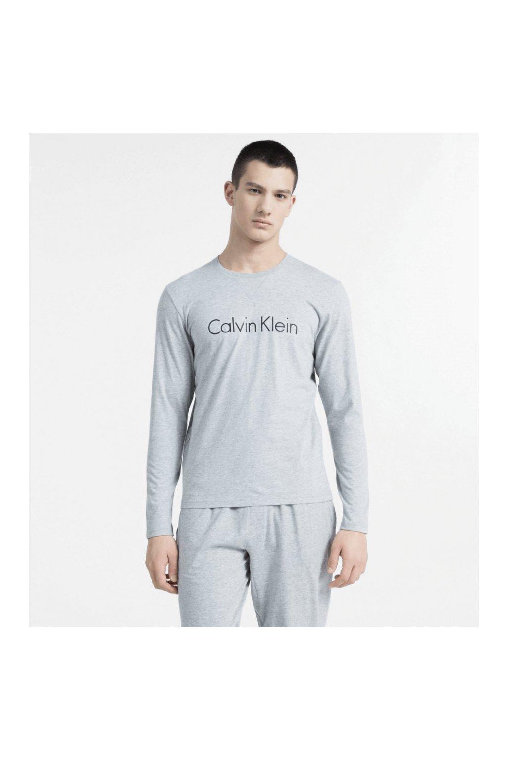 Calvin Klein Tričko S Dlouhým Rukávem Šedé