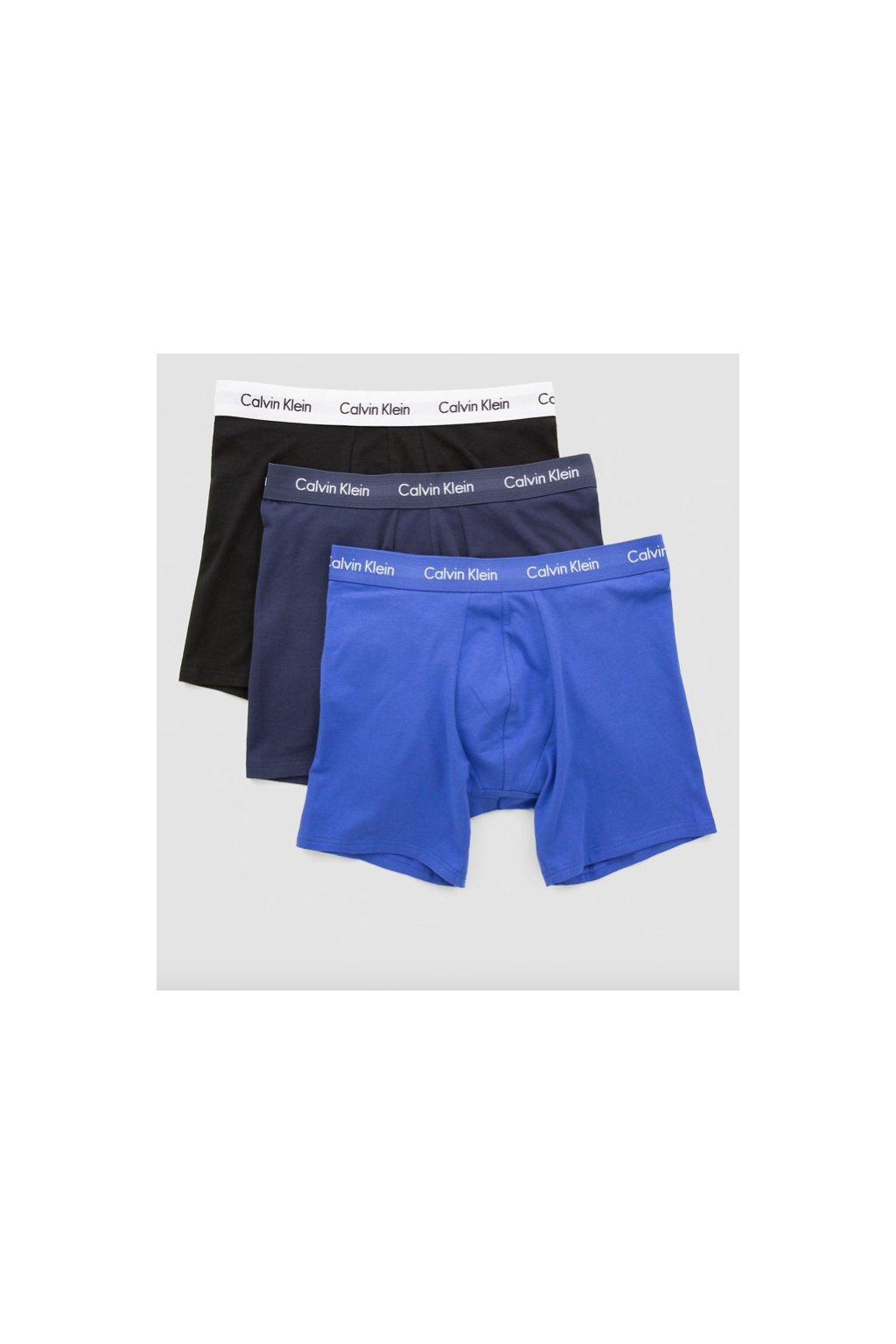 Calvin Klein 3Pack Boxerky Dlouhé Modročerné