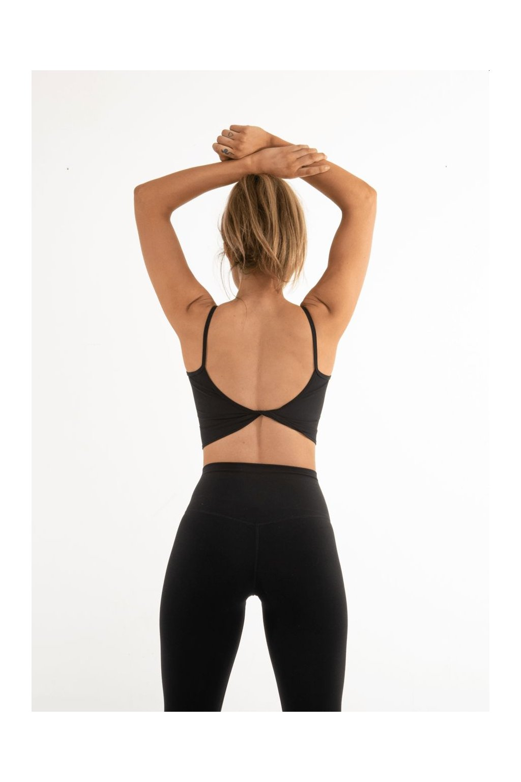 Dámský Crop Top Ribbed Backless Black