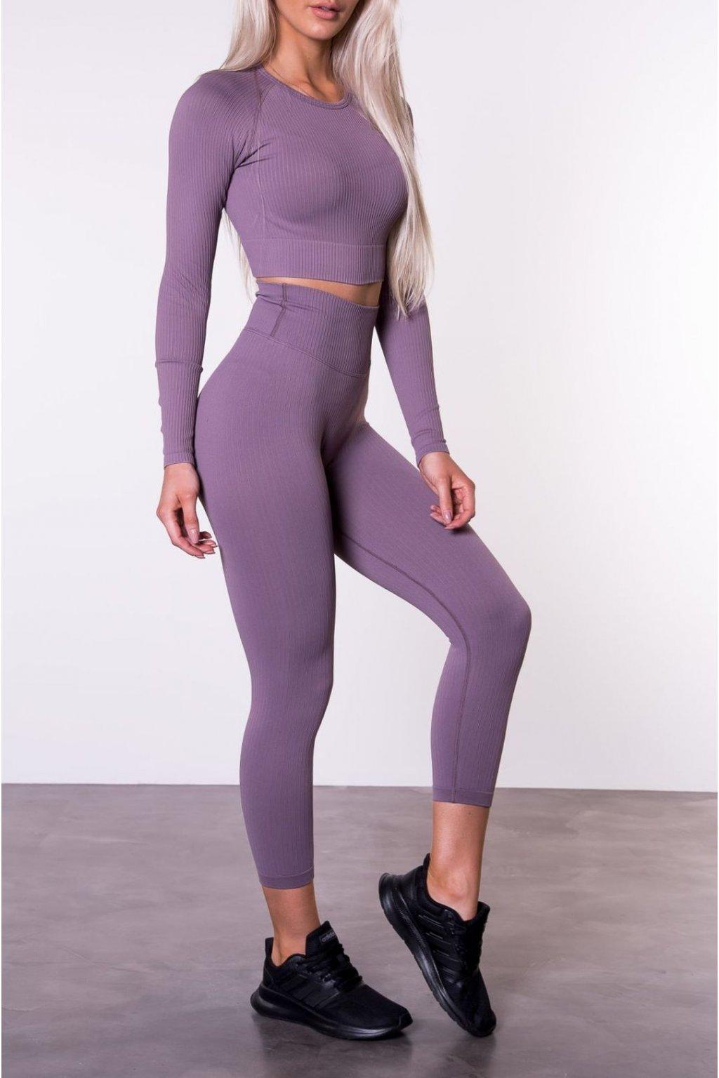 Sportovní set Long Ribbed Dark Purple