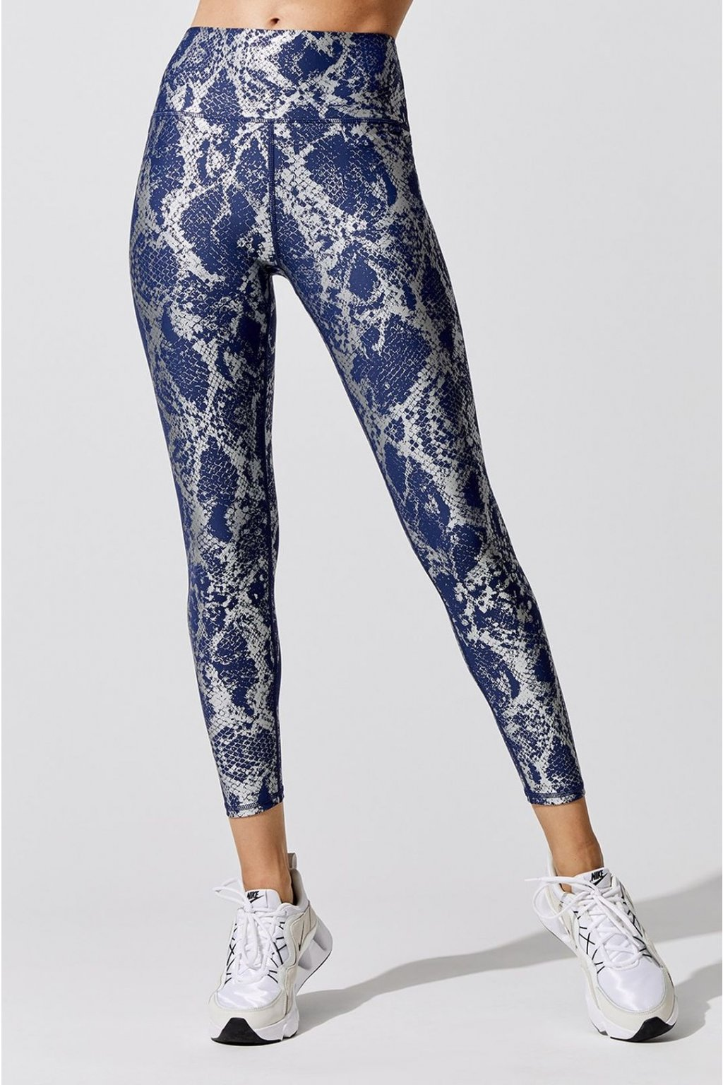 carb crb19331d snablu carbon38 metallic snake high rise full length legging bottoms navy silver 6341