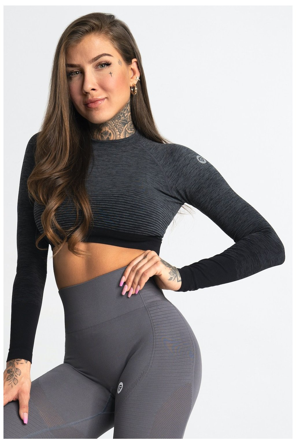 Crop-Top Gym Glamour Grey Ombre