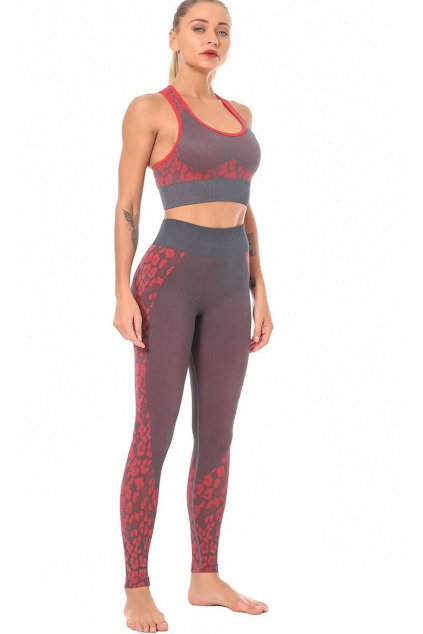 Dámský set Seamless Leopard - červený