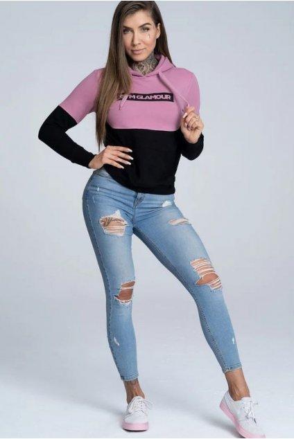 Mikina Gym Glamour 50/50 Pink&Black