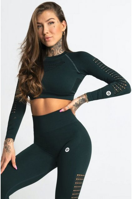 Gym Glamour Crop-Top Evergreen