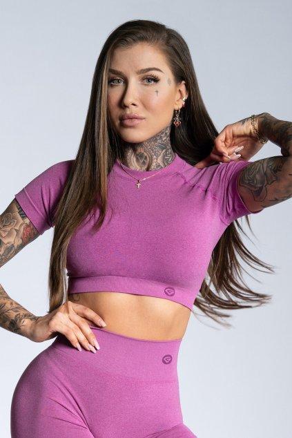 Crop-Top Gym Glamour s krátkým rukávem Pink Ombre