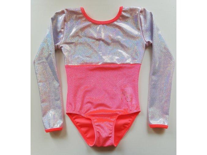 Gymnastický dres - NELLA - glitt.losos / silver multi
