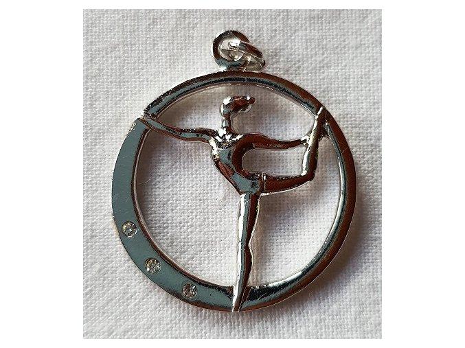 Přívěšek . Rhinestones Gymnast silver